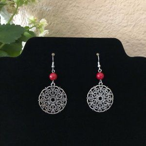 Silver Scrolled Drop Earrings with Red Bead